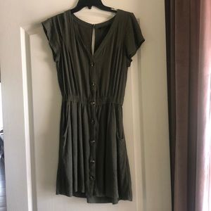 American Eagle Olive Green Button Down Dress
